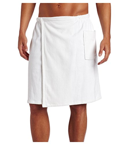 robesale Pure Cotton Terry Cotton Bath Spa Men's Wrap Towels, Small/Medium, White