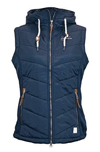 Dry Fashion Damen Weste Malente Stretcheinsätze Steppweste ärmellos, Farbe:dunkelblau, Größe:42