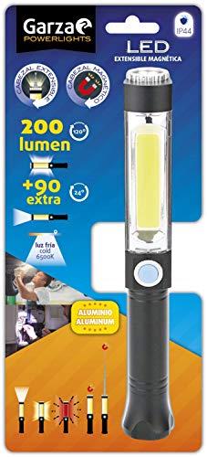 Garza - Linterna LED De Aluminio Con Cabezal Extensible Magnético ideal para el trabajo, coche o emergencias