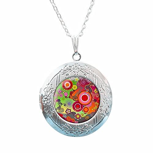 Collar de medallón multicolor, regalo para su joyería delicada, collar con colgante de flor, collar de medallón de filigrana, collar de medallón de filigrana, regalo de joyería para mujer # 113