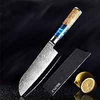 子供向け包丁 ツール調理キッチンナイフ・セットのダマスカス鋼VG10シェフナイフ包丁ペアリングパンナイフブルーレジンと色ウッドハンドル (Color : 7 inch santoku knife)