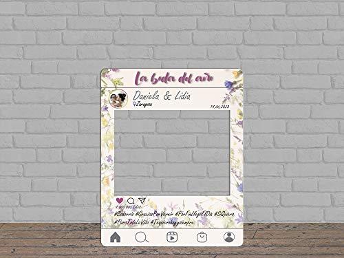 Oedim Photocall Boda Instagram Flores Silvestres Personalizado, photocall Decorativo para Bodas, decoración...