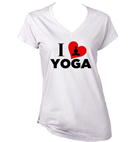 teesquare1st Yoga I Love Yoga Camiseta para Mujer de Algodon Size Medium