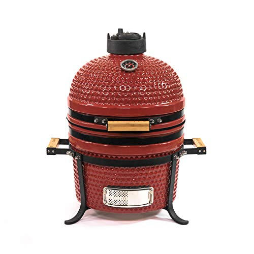 VESSILS 15 Inch Kamado Charcoal BBQ Grill Handle Style – Heavy Duty Ceramic Barbecue Smoker and Roaster with Built-in Thermometer and Stainless Steel Grate