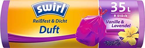 Swirl Duft-Müllbeutel Vanille-Lavendel mit Zugband, 35 Liter, 1 Rolle mit 9 Beuteln