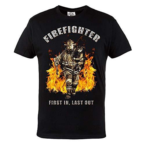 Regla Fuera Camiseta firefighter. First In Last Out firebrigade. Gimnasio Entrenamiento sportswear. running. Fire Rescue firefighter. Informal - Negro, Medium