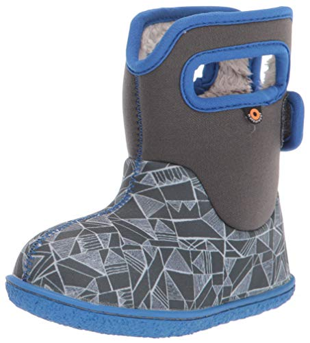 BOGS Baby Waterproof Insulated Snow Boot, Maze Geo -Gray Multi, 7