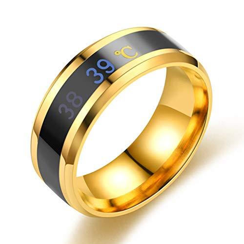 Aoliao Anillo de temperatura corporal inteligente de acero inoxidable con sensor de moda en tiempo real de prueba de temperatura anillo unisex