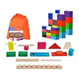 Atrumly Dominó de madera Set de apilamiento de bloques de dominó para niños juego educativo de juguete de color brillante Domino Set
