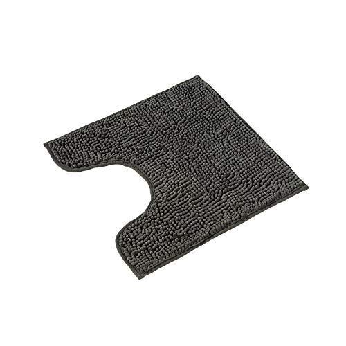 PANA Flauschiger WC Vorleger MIT Ausschnitt • Chenille Badematte in versch. Farben und Größen • Badteppich rutschfest & waschbar • 45 x 45 cm • Farbe: Grau