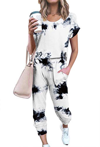 Women's 2PC Tie Dye Sport Tracksuit Outfit Set Elastic Waistband Pockets Drawcord Lounge Pajamas Sets Lounging Suit White 2XL