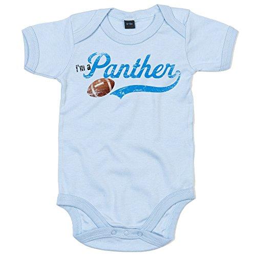I'm a Panther #1 Babystrampler Super Bowl Play Offs American Sports USA Vintage Bodysuit Babybody Oeko-TEX, Farbe:Babyblau (Dusty Blue BZ10);Größe:0-3 Monate