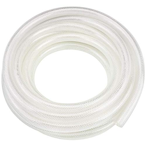 5/8' ID x 10 Ft High Pressure Braided Clear PVC Vinyl Tubing Flexible Vinyl Tube, Heavy Duty Reinforced Vinyl Hose Tubing, BPA Free and Non Toxic