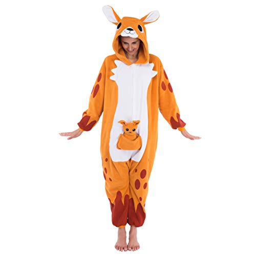 Spooktacular Creations Unisex Adult Pajama Plush Onesie One Piece Kangaroo Animal Costume (Small)
