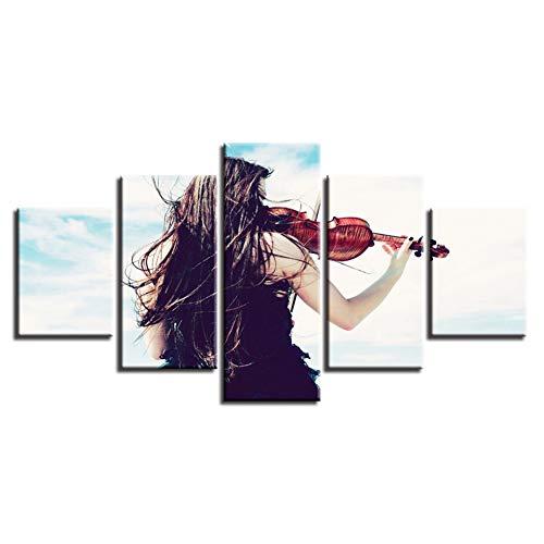 Poster foto's modulaire canvas HD-prints 5 stuks vrouw speelt de viool schilderij muurkunst modern decor woonkamer (geen lijst) 40x60 40x80 40x100cm