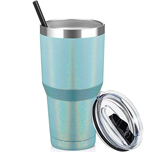 ALOUFEA 30oz Stainless Steel Tumbler, Insulated Coffee Tumbler Cup with Lid and Straw, Double Walled Travel Coffee Mug for Hot & Cold Drinks (Glitter Mint, 1 Pack)