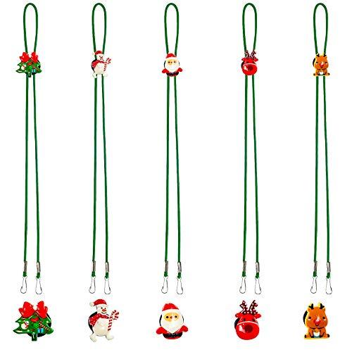 Yonader 5 Pcs Face Mask Lanyard, Mask Holder Convenient Safety with Christmas Santa Reindeer Patterns Clips & Sturdy Hooks, Adjustable Multifunction Mask Glasses Lanyard for Men, Women, Children
