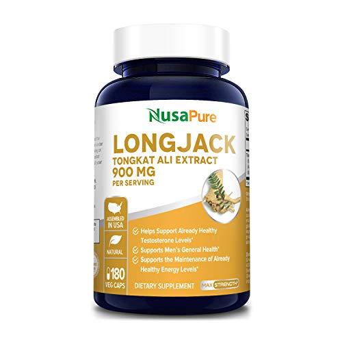 Longjack Tongkat Ali 900mg 180 Veggie Caps (Non-GMO & Gluten Free) - Natural Testosterone Booster, Increase Physical Endurance
