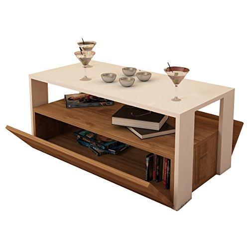 Alphamoebel 5362 Balina Couchtisch Beistelltisch Wohnzimmertisch Sofatisch Kaffeetisch, Möbelstück für Wohnzimmer, große Ablagefläche, 2 Stauräume mit Türen, Holz, Weiß Walnuss, 90 x 44,6 x 40 cm