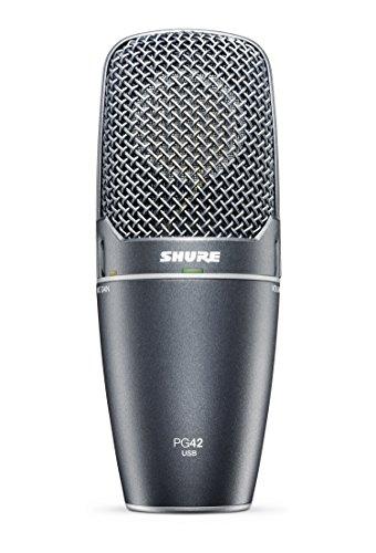 Shure PG42-USB Microfono a Condensatore con Diaframma Largo, USB, Grigio