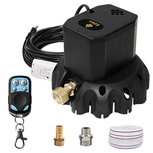 EDOU 1200 GPH Remote Control Switch On-Off Pool Cover Pump,Including 3 Adapters,Remote Control and 16' Drainage Hose,Black