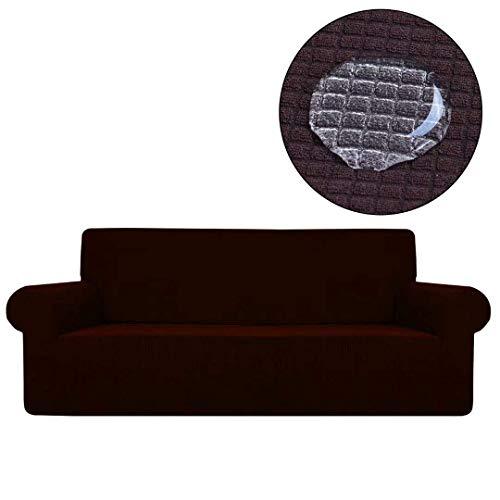 Yuany Funda de sofá impermeable, elástica, antideslizante, forro polar, para sofá de 2 plazas, color morado, marrón, 2seater