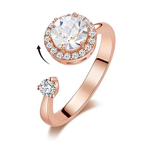 DYD Anelli Oro Rosa 18K Anello Regolabile Birthstone per Donna, Aperto Anello Donna per Cristalli Gioielli, Regalo per Fidanzata o Moglie