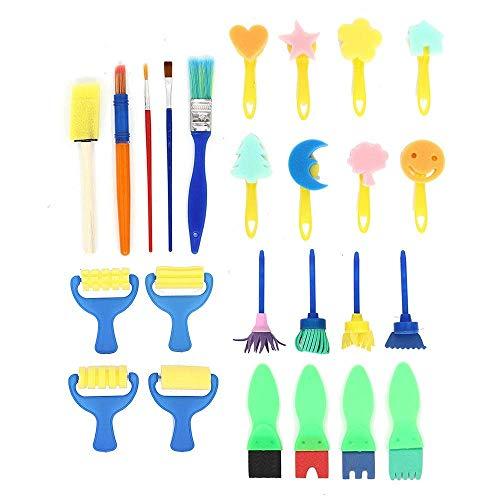 Jsmhh Pinsel-Set 25 Stücke Kinder Gemälde malen Spielzeug Schwammrolle Pinsel Graffiti Pen DIY Werkzeug for Kinder Künstler Studenten Teens (Farbe: Mehrfarbig, Größe: 25 Stück)