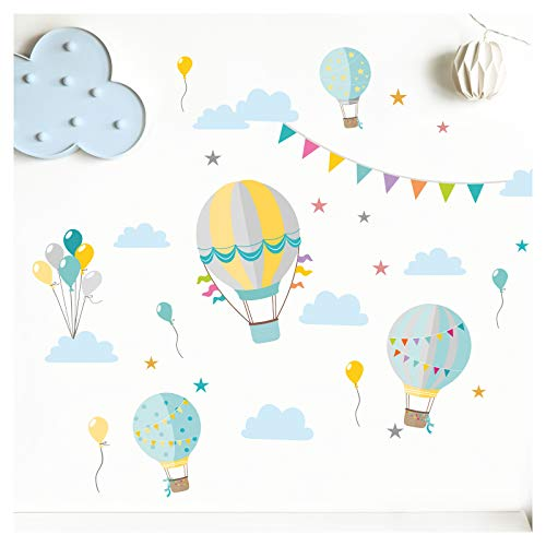 Little Deco sticker kinderkamer jongen heteluchtballonnen turkoois lichtgrijs II muurschilderingen muurtattoo wolken ballonnen deco meisjeskamer sticker DL374 S - 81 x 50 cm (BxH)