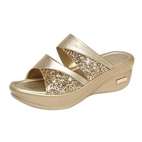 Pantoffel Cord-Slipper Arbeits-Pantoffeln Badelatschen Sommerschuhe Flipflop Flip Flop Badeschlappen Pool Schuhe Slipper Römersandalen Sandalette (36,Gold)