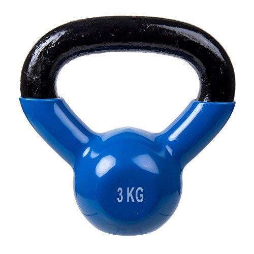Bodico Fitness Kettlebell with Vinyl Coating, 6.6lbs, Blue Kugelhantel, 3 kg, blau, 3kg