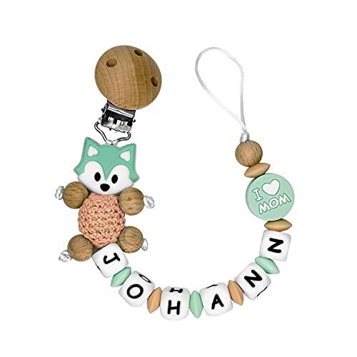 RUBY - Chupetero Personalizado Para Bebe Cadena Chupete con Nombre Bola Silicona Antibacteriana con Pinza de Madera, Chupetero de Zorrito de Crochet (Menta)