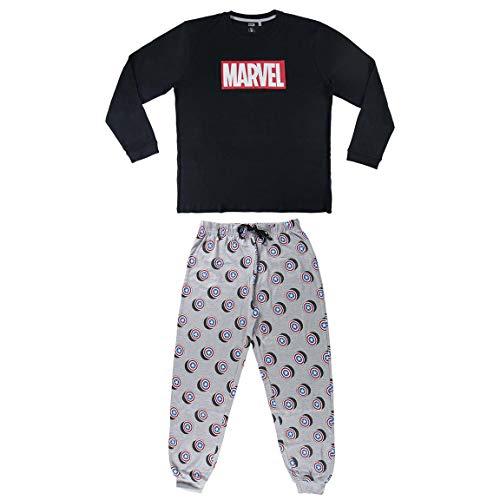 Artesania Cerda Pijama Largo Avengers Conjuntos, Azul (Azul 37), XL para Hombre