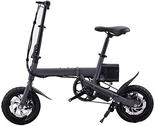 Bicicletas Eléctricas, 12 pulgadas bicicleta eléctrica 350W plegable bicicleta de montaña con batería de litio de 36V y el disco de freno, ligero plegable compacta E-bici for ir al trabajo y ocio (Neg