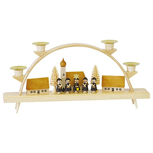 ISDD German candle arch Carolers, small village, length 32 cm/19 inch, natural, original Erzgebirge by Richard Glaesser Seiffen