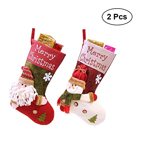 Toyvian Cadeaux de Noel Bas Santa Claus Bonhomme de Neige Chaussette de noël Arbre Suspendu décorations Bonbons Sacs