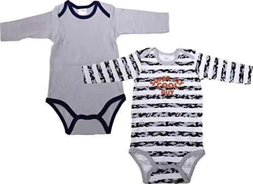 2er Pack Baby Body 100% Baumwolle Baby Unterwäsche 2stück Erste Qualität Langarm Body - Cool Gay/Grau (98/104)