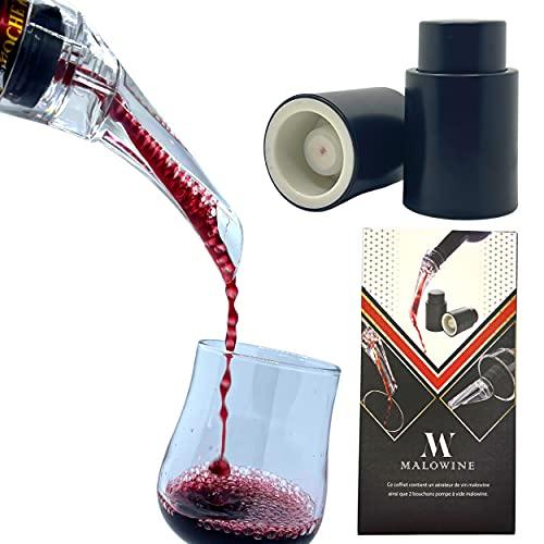 Bec Verseur Aérateur de vin Coffret - 2 Bouchon Bouteille Vin Bouchon Vide Air Decanteur a vin - Bec Verseur Anti Goutte Accessoire de Dégustation Vin en Bouteille - dans Un Verre a Vin Decanter