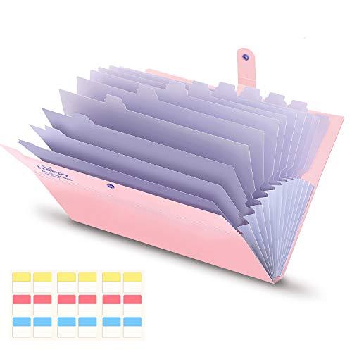 Ordner A4 13 Fächer Erweiterbar Bedruckt PP Dokumentenmappe mit Schnalle Schließung Archival Organizer Rosa Abdeckung