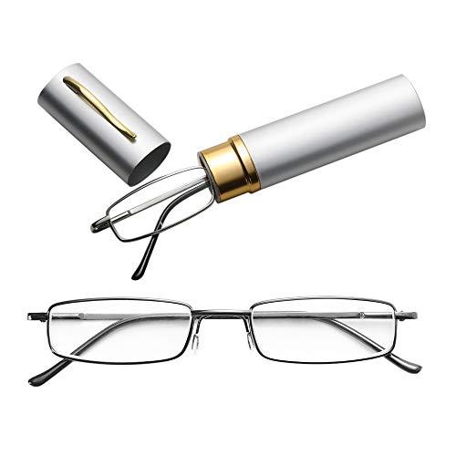 JSANSUI voordelige leesbril leesbril, metalen veer voet draagbare Presbyopie bril met buis etui (1.50D)