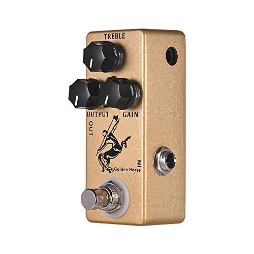 RuleaxAsi Golden Horse Guitarra Overdrive Efeito Pedal Shell Full Metal True Bypass