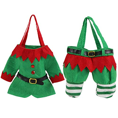 Kiar 2Pcs Santa Elf Clothes Pants Christmas Candy Bags Xmas Design Gift Bag Reusable Tree Before Nightmare White who DVD for Doctor Stole Outfit Carol Vacation Bag Bad July
