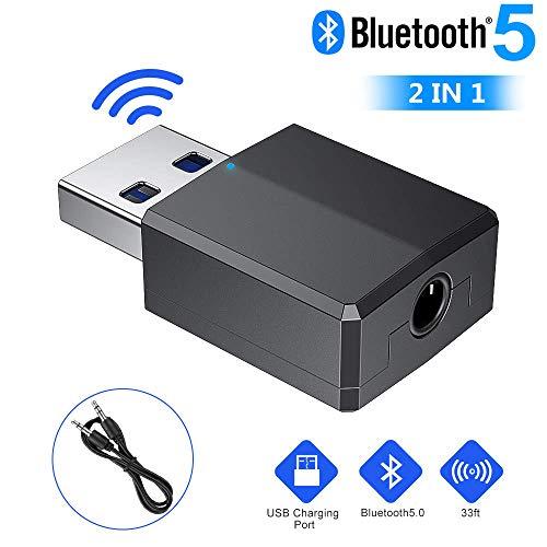 EDUPUP Bluetooth Adapter, Bluetooth 5.0 USB Dongle Adapter, Bluetooth Adapter Empfänger 5.0 USB Dongle HiFi, Kabelloser Bluetooth Sender Empfänger mit 3.5mm Digital Audio für PC/Home/Kopfhörer/TV