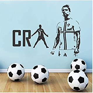 Real Madrid Cristiano Ronaldo Cr7 Fútbol Pegatinas de pared Decoración de arte de pared para sala de estar Habitación para niños Tatuajes de pared Decoración para el hogar57X65Cm