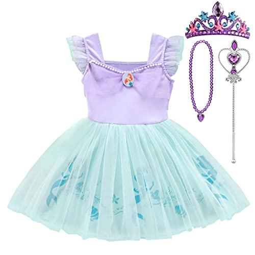 Lito Angels Disfraz de Sirenita Princesa Ariel con Accesorios para Niñas Pequeña, Sirena Vestido de Tul Falda Tutu de Fiesta de Cumpleaños, Talla 2-3 años, Morado 265