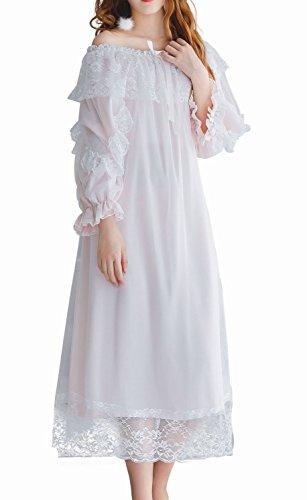 [ディープアイズ] ネグリジェ ロング ワンピース 姫系 オフショルダー 肩出し 9分袖 フリル 刺繍 レース #05 レディース (ライトピンク)