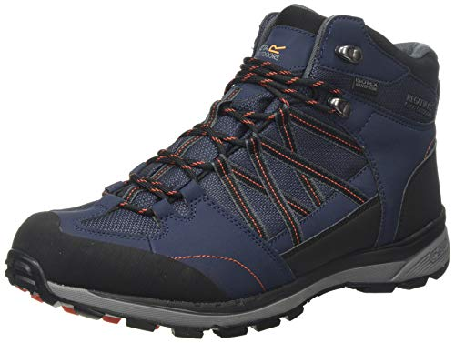 Regatta Samaris II Mid' Waterproof Walking Boots, Botas de Senderismo para Hombre, Azul (Navy/Burnt Salmon F96), 42 EU