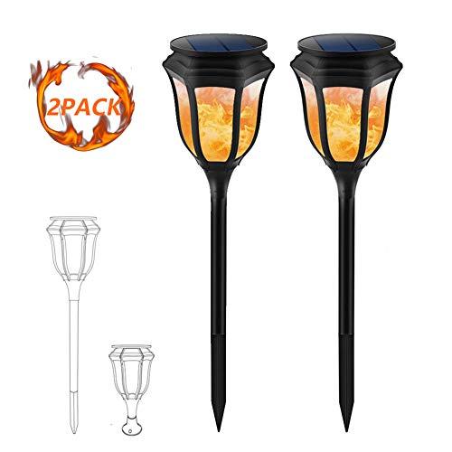 HJB Garten Fackeln Solarleuchte 2 Pack, IP65 Wasserdicht Beleuchtung Dekoration LED Lampen, 35 Lumen Warmes Licht 2800K, Mit Realistischen Flammen, Automatische EIN/Aus