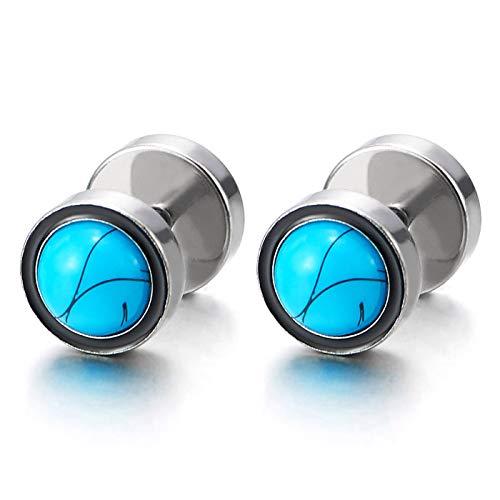 2 Hombre Mujer Círculo Pendientes con Azul Turquesa Sintética, Acero Enchufe Falso Fake Cheater Plugs Gauges, 2 Piezas