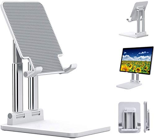 Tablet Stand Adjustable Height, Rosa Schleife Foldable Tablet Holder, Dual Tube Aluminum Solid Tablets Holder, Compatible with iPad, Kindle, Microsoft Surface, Tab, E-Reader, 4 -15'' (White)